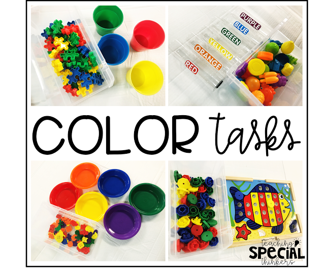 Color sorting activities for the primary classroom. Tons of ideas for preschool kindergarten or special education independent work centers #sortingactivities