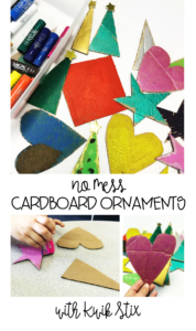 No Mess Recycled Cardboard Ornaments with Kwik Stix