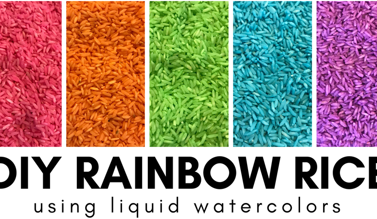 DIY Rainbow Rice Using Liquid Watercolors
