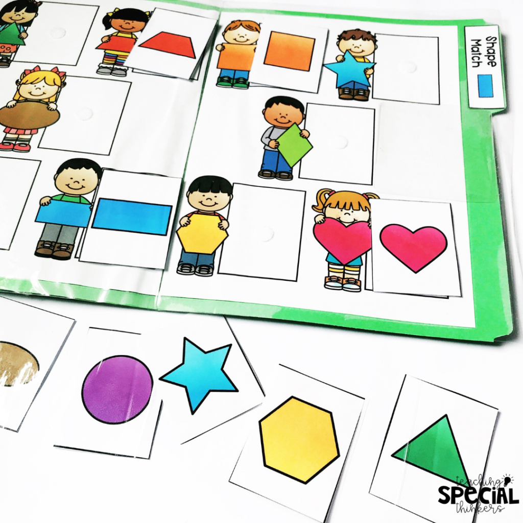 matching shapes file folders for kids