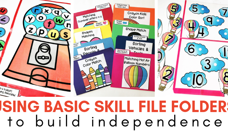Using Basic Skill File Folders to Build Independence (with FREE Errorless File Folders)